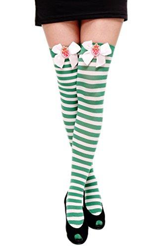 DRESS ME UP - Karneval Fasching Cosplay Strümpfe Overknee Kniestrümpfe Ringelstrümpfe Girly Grün Weiß Kawaii W-005-green