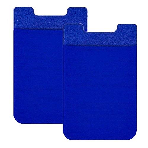 ZhaoCo 2er Pack Ultra-Slim Lycra Handy-Kartenhalter Aufkleber Fest haftender Stick Back Cover Kreditkarteninhaber Tasche Pocket Wallet für iPhone, Android und alle Smartphones - Blau -