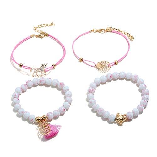 SimpleLife Bohemian Beaded Stretch Bracelet Set - Verstellbare Anweisung Charm Link Strand stapelbare Wickelarmbänder für Frauen und Mädchen