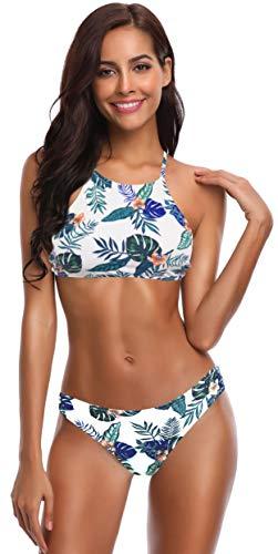 SHEKINI Damen Neckholder Push Up Sport Streifen Bikini Set Bandeau Strandmode Bademode Badeanzug Zweiteilige Gepolstert Strandkleidung Split (S, Blumen-Druck in Grün)