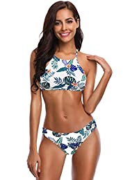 SHEKINI Mujeres Trajes de Baño Cuello Alto Impresión Stripe String Bikini Traje de Baño de Dos Piezas