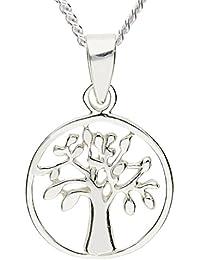 MYA art Damen Halskette Kette 925 Silber Ring Platte mit Lebensbaum Baum  des Lebens Anhänger Rund 721f5d1151