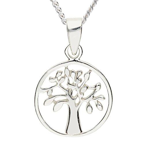 Sterling Münze Damen Silber Ringe (MYA art Damen Halskette Kette 925 Silber Ring Platte mit Lebensbaum Baum des Lebens Anhänger Rund Klein 45cm MYASIKET-107)