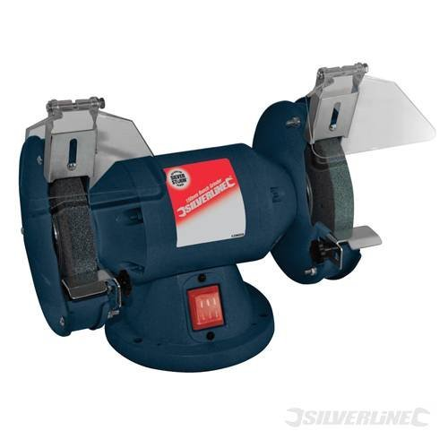 power-tools-workshop-bench-grinder-200w-150mm-compact-with-dust-protected-switch-and-rubber-mounting
