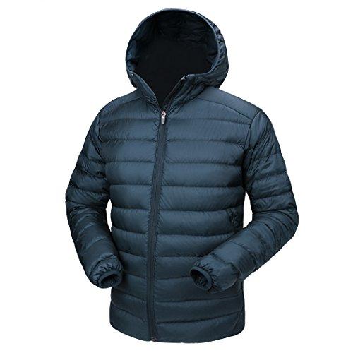 TAK Herren Daunenjacke Winterjacke Leicht Duenn Daunenmantel Herren Down Jacket (04-Blau grau, XXL)