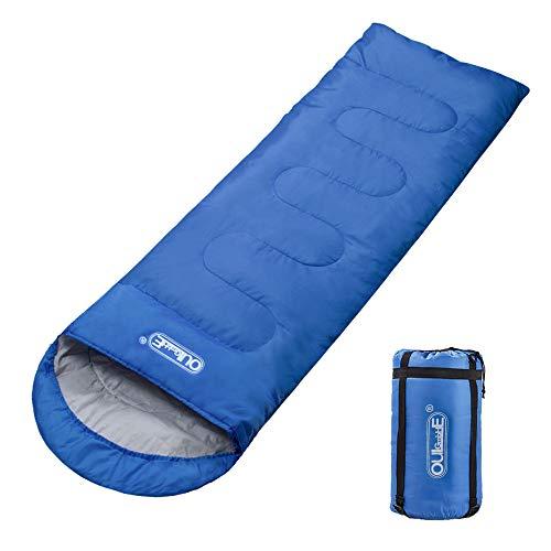 Oule GmbH Schlafsack Deckenschlafsack 3 Jahreszeiten 210T Polyester 220 x 75 cm 5 bis 20 °C 100{ba617e817c36747c50eafbbfbaf3a2d476ef36a9a8d920a314c33d286284cceb} Baumwollhohlfaser 300 g/m² Füllung Stabil leicht mit kleinem Packmaß in Tragetasche - Blau
