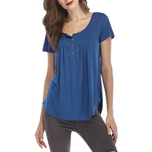 BfmyxgsFrauen Solide Plissee Knopf Plissee Oansatz Kurzarm Unregelmäßiges T-Shirt Tops Komfortable Jugend -