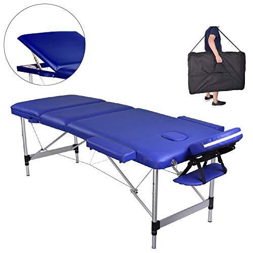 MC Star Massageliege 3 Zonen Aluminium Klappbar Tragbar Massagetisch Faltbar Leicht Deluxe Massage Bett Höhenverstellbar Spa Reiki Tattoo mit Armlehne Kopfstütze Tasche, Blau -