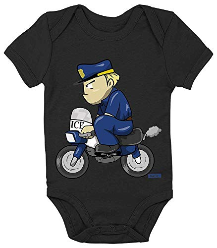 HARIZ Baby Body Kurzarm Polizist Lustig Motorrad Polizei Lustig Plus Geschenkkarte Pinguin Schwarz 18-24 Monate (21 Piloten Kostüm)