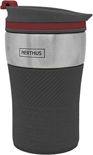 NERTHUS FIH 237 doppelwandig Kaffeebecher, grau, 250ml, Edelstahl, 14 x 8 x 8 cm