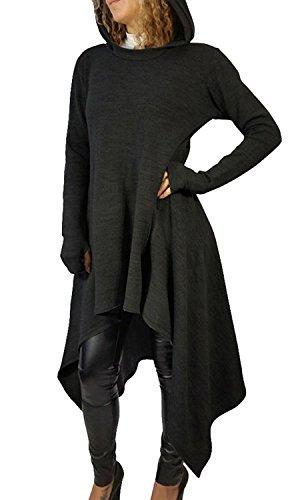 Minetom Donne Maniche Lunghe Bordo Irregolare Magliette Vestito Felpa con