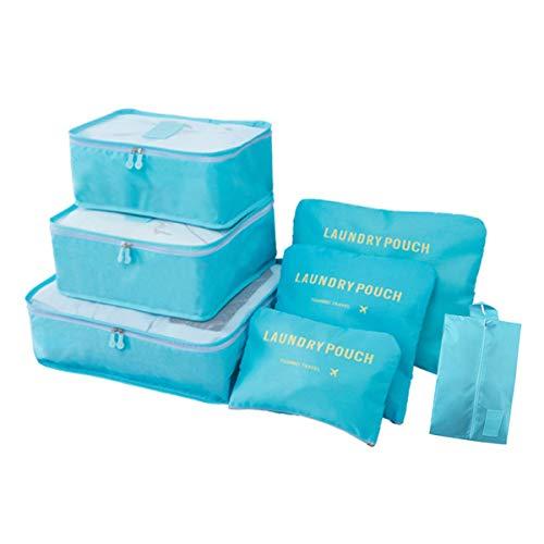 3 Stück Netz-gepäck-set (Reise Kleidertaschen,7 Stück Wasserdicht Reisegepäck Organisator Kofferorganizer Reiseverpackungswürfel Wäschesack Kompressionsbeutel Beutel Koffer Kulturveranstalter für Kleidung, Schuhe, Unterwäsche)