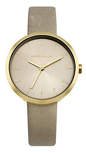 Karen Millen Women's Quartz Watch with Grey Dial Analogue Display and Grey Leather Strap KM135EG