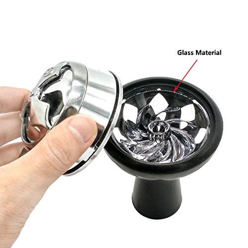 BAAQII Schwarz Shisha Bowl Set, Silikon Shisha Bowl + Kohlehalter Shisha Heat Pot Brenner mit Windschutz Rauchzubehör Set