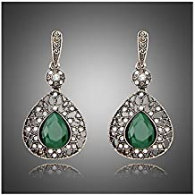 Premium & Stylish Charming Antique Gold Plated Drop Earring White Glass Dangler by Zarood for Party, Evening & for Every Day Use, Ideal gift for Birthday, Anniversary, Valentine.