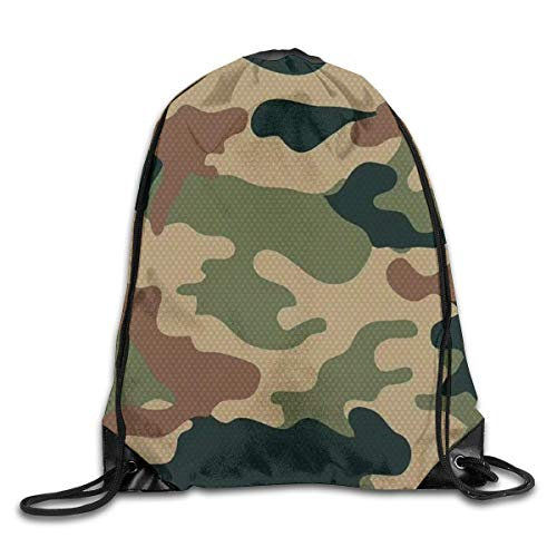Unisex Turnbeutel/Bedruckte Sportbeutel, Drawstring Backpack Cool Army Green Camouflage Drawstring Backpack Drawstring Backbag Outdoor Travel Sports Gym Storage Bag for Men and Women -