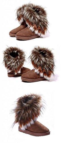 Minetom Damen Winter Schnee Stiefel Stiefeletten Warm Pelz Stiefel Schuhe Camel HLh6GyeRA