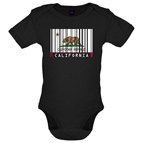 California / Kalifornien Barcode Flagge - Lustiger Baby-Body - Schwarz - 3 bis 6 Monate