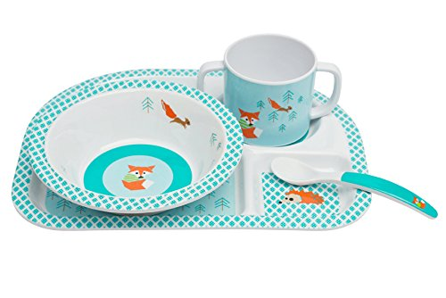 LÄSSIG Kindergeschirr Set Schüssel Tasse Löffel Menüteller rutschfest spülmaschinengeeignet Melamin/Dish Set Little Tree Fox - Baby Geschirr