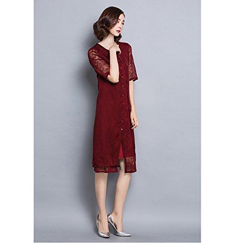 Damen Fashion Sommer Rundhals Midi Kleid aus Spitze und Seide Weinrot