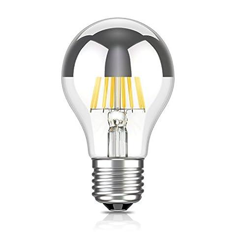 ledscom.de E27 à tête miroir LED ampoule filament A60 8W =57W blanche-chaude 750lm A++ pour l'intérieur et l'extérieur, 2 pcs