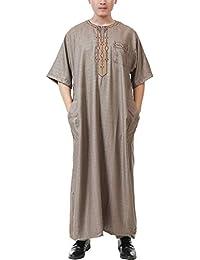 dfd5e69d85c2 TAAMBAB Musulmano Thobe Uomo Medio Oriente Abaya Saudi Arabo Kaftan  Girocollo Abito - Estate Maniche Corte Islamico Abbigliamento Oman…