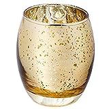 Vine RITUALS® Kerzenhalter aus Glas, 1 Stück 1 Pack Elegant Gold Mehrzweck-Deko-Halter für Kerzen, Votive, Teelichter und süße 75 x 90 mm Hochwertige Dekoration für Zuhause, Hochzeiten, Partys, Weihnachten und Veranstaltungen