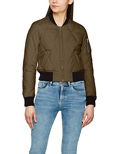 Urban Classics Damen Jacke Ladies Diamond Quilt Short Bomber, Mehrfarbig (Darkolive/Black 795), Small