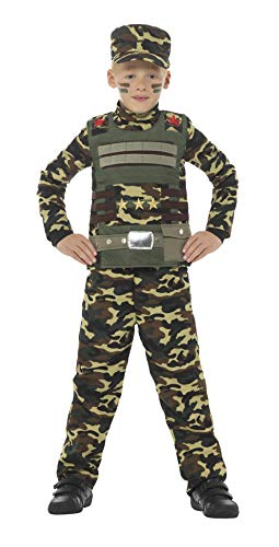 Smiffy'S 48209S Disfraz De Camuflaje Militar Para Niño De Color Con Parte De Arriba, Verde, S