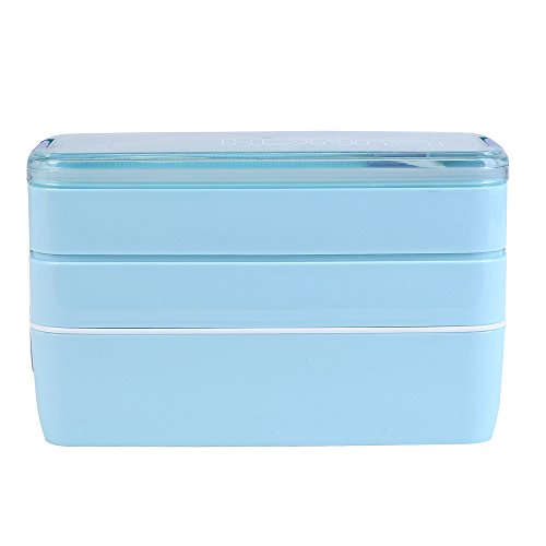 Lunchbox / Bento Box, MACDIAZ Microwavable Bento Lunchboxen 3 Layer Food Aufbewahrungsbehälter Mit Besteck FÜR Kinder Erwachsene, Mittagessen Container,Blau Große Bento-box