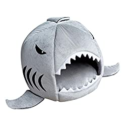 ELECTROPRIME Pet Dog Cat Puppy Shark Cave Cozy Bed Nesting Rest Cotton Cushion Grey S