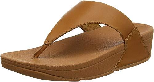 FitFlop Lulu Leather Toepost, Sandalias con Plataforma para Mujer, Marrón Caramel 098, 37 EU