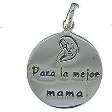 Colgante Medalla Madre en Plata Para la Mejor Mamá. Incluye una Cadena de Plata de 40 Centimetros y un Estuche para Regalo Dia de la Madre. Joyeria en Plata de Ley 925 by Alylosilver.
