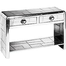 Protege Homeware 2 cajones aluminio mesa de consola de Aviator