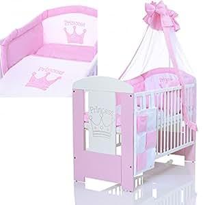 lit b b enfant 120x60 avec matelas et ensemble literie 9 pieces blanc rose b b s. Black Bedroom Furniture Sets. Home Design Ideas