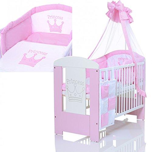 Baby Kinderbett Princess 120x60 cm weiss rosa - 9 Teile Bettwäsche Komplettset