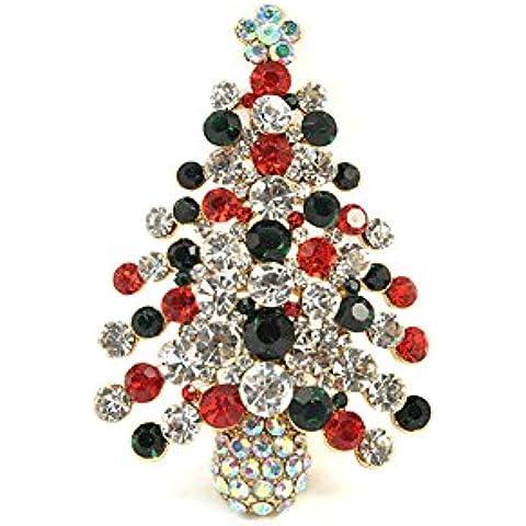 Leyu Fashion Wang K placcato oro della decorazione di cristallo Swarovski Elements Albero di Natale Shinning Spilla