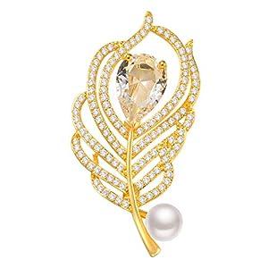18 Karat Vergoldete Federbroschen mit 5A Zirkonia Süßwasserperlen Brosche Pins für Frauen Schnalle für Pullover Schal Mantel