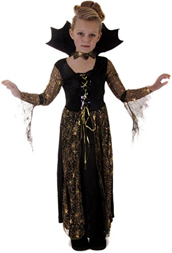Kid Spinne Kostüme (Childs Mädchen Spiderella Spinne Hexe Vampir Halloween Kostüm Ou)