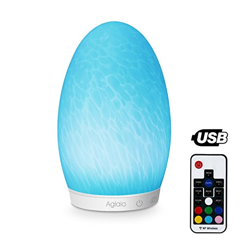 Aglaia Farbwechsel Lampe Glas Wiederaufladbare, Touch Dimmbare LED Stimmungslicht mit Kaltweiß Licht und 256 Farben ändern RGB, geeignet für Wohnzimmer, Kinderzimmer usw
