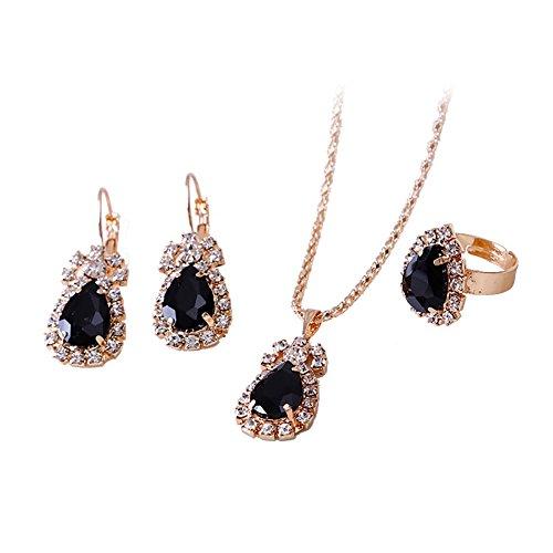(momangel-Set, mit Kristall-Halskette, Wassertropfen-Ohrringe Damen Schmuck Einheitsgröße Schwarz)