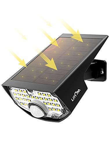 LED Solar Strahler【Super Hell 350 Lumen】,Mpow Solar LED-Außenleuchte,Solarleuchte mit 120°Bewegungsmelder,270°Weitwinkel,LITOM(Untermarke von Mpow)Solarlampen für Außen für Garten,Eingangstür,Garage