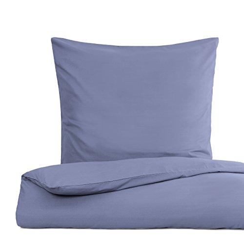 Lumaland Premium Bettwäsche Everyday Ganzjahres Bettbezug YKK Reißverschluss 135x200cm Kissenbezug 80x80cm Smoke Blau