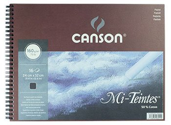 Canson : Mi-Teintes Black Spiral Pastel Pad 24x32cm : 16 sheet -
