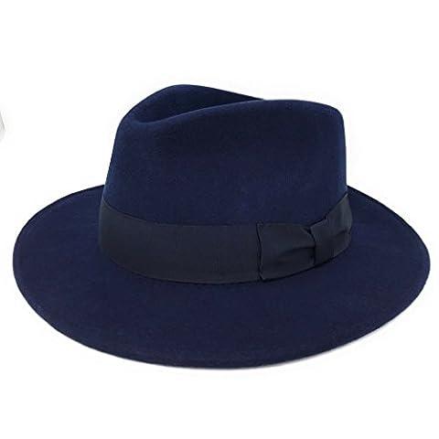 Hommes Fait À La Main 100% Wool Feutre Indiana Style Froissable Chapeau Borsalino - Bleu marine, Large - 59cm
