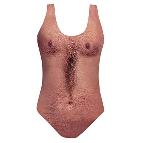 Sylar Bikinis Mujer 2019 Push Up Traje De Baño Mujer Una Pieza Impresión De Pelo En El Pecho Bañador...