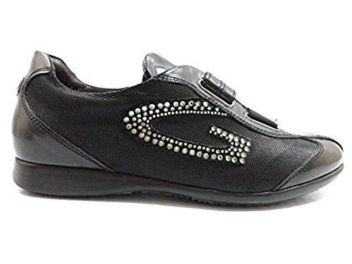 Scarpe donna ALBERTO GUARDIANI 36 sneakers nero pelle tessuto KY186
