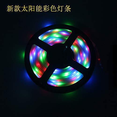 POOPFIY LED-Lichtleiste, Solar-Lichtleiste, wasserdicht im Freien, 5M100LED-Lampenperle, Keine Verkabelung, geeignet für die Gartendekoration im Freien,RGB -