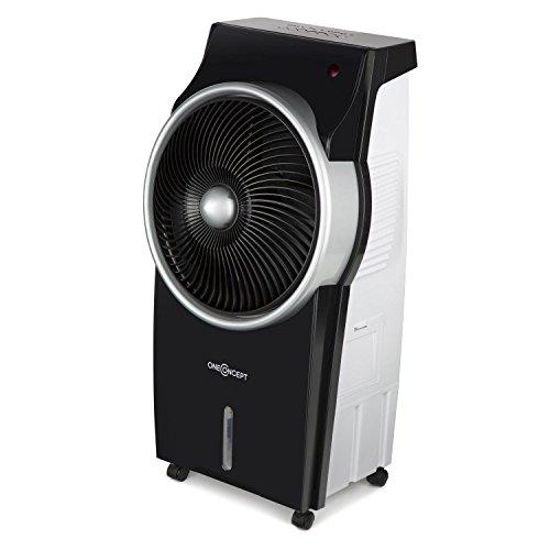 oneConcept Kingcool Raffreddatore d'aria con raffreddamento ad acqua Ventilatore Purificatore d'aria Ionizzatore Con Oscillazione Serbatoio 8 litri Telecomando 3 livelli Timer nero argento