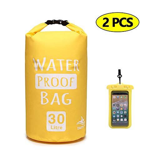 DIMOJING Dry Bag, wasserdicht Taschen mit Handytasche und Gurte für Boot und Kajak, Angeln, Rafting, Schwimmen, Camping und Snowboarden, 2L/5L/10L/20L/30L,Yellow2PCS,10L